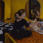 """1993    'Mother and Children on Bed'  57""""  x  72"""""""