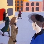 1988   'Procession of the Street'    19''  x  24'' ( see oil- 'Familiar Range'  1991)