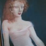 """1984    """"Woman in White Dress'   26""""  x  19""""   pastel"""