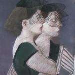 """1985 'Two Women in Hats-In Profile'   26""""  x  19""""  pastel"""