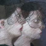 "1985 'Two Women in Hats-In Profile'   26""  x  19""  pastel  (closeup)"