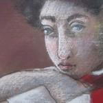 "1984  'Two School Girls'   14""  x 18"" pastel   (closeup)"