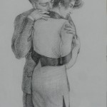 """1996 'Embrace'  16""""  x  11""""  graphite (see oil- 'Embrace ' 1996)"""