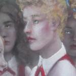"1980  ""Fiver School Girls""  (closeup)  pastel"