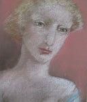 """1984  'Blonde Against Salmon Wall'  14""""  x  10"""" pastel"""