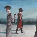"""1987  ' Five Women'     19""""  x  24""""  gouache and pen and ink"""
