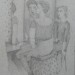 """1985 'At The Dressing Table'  22""""  x  16""""  graphite (see oil- 'Mother and Daughter'  1985"""