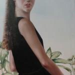 """1982  'Single Woman in Black Dress'  48""""  x  22"""""""