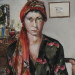 """'Self Portrait with Red Floral Scarf""""   21""""  x  15""""  Watercolor"""