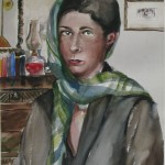 """' Self Portrait with Green Scarf'   21""""  x  15""""   Watercolor"""
