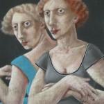 "1985 'Twins-8'  26""  x  19""  pastel ( see oil- Twins-8' 1986)"