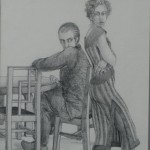 """1996 'Momentary Disclosures' 12""""  x  12"""" graphite ( see oil- 'Momentay Disclosures'  1996"""