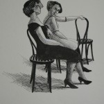 """1986  'Daughter wityh Mother #2'   24""""  x  19""""  pen and ink"""
