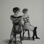 """1986  'Daughter with Mothert  #3'  24""""  x  19""""  pen and ink"""