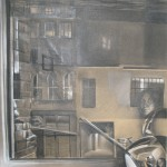 """c. 1979 ' View from Bond Street with Self Portrait'  24""""  x  17"""""""