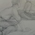 """1996 'Picnic with Two Men-One Woman'  11""""  x  17""""  graphite"""