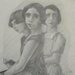 "1985 'Three Sisters'  10""  x  10""  graphite"