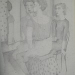 """'At the Dressing Table'  22""""  x  16""""  Pencil ( study for 'Mother and Daughter' OIl painting from 1985)"""