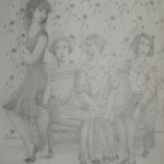 """1985 'Four Girls with Floral Wallpaper' 20""""  x  15""""  graphite"""