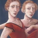 "1985  'Twins-3'   26"" x  19"" pastel (see oil- 'Twins-3'  1986)"