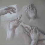 ' Drawing of Hands'   17''  x   25''  c.1981  graphite and conte