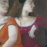 'Mother with Her Daughter in Hats' 26'' X 19''  1985  pastel
